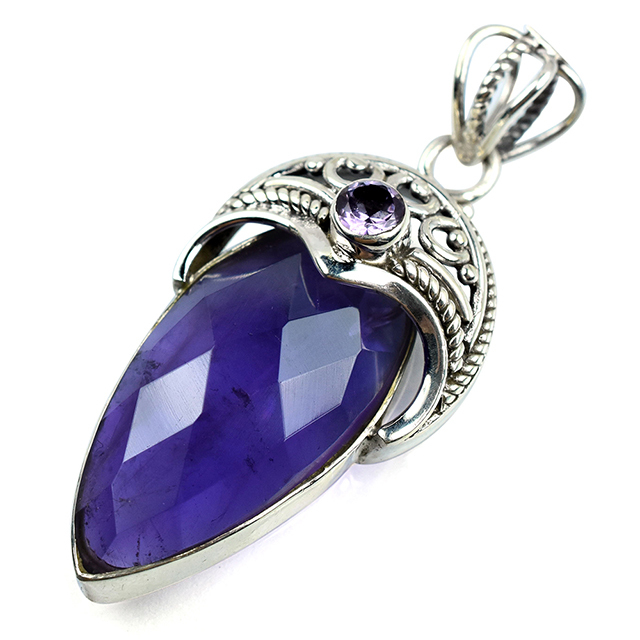 Virtual Face_Pear_Round Shape Amethyst 925 Sterling Silver Pendant, Handmade Silver Jewelry, Online Silver Jewelry
