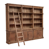 Indonesian Furniture Bookcase with 3 compartments and ladder for Living room