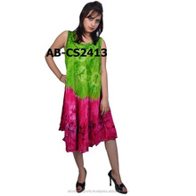 Boho Sleeveless Tie Dye Umbrella dress/ Caftan Sundress / Beach Cover Up
