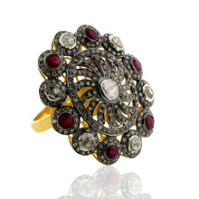 18kt Gold Uncut Diamond Designer Ruby Cocktail Ring Gemstone Jewelry 925 Sterling Silver