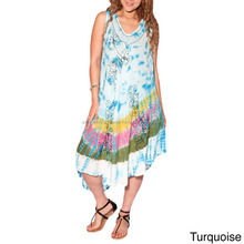 Women's Tie & Dyed Stylish Rayon Maxi Sundress For Women
