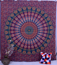 Big stock indian printed tapestry wall hanging wholesale peacock mandala
