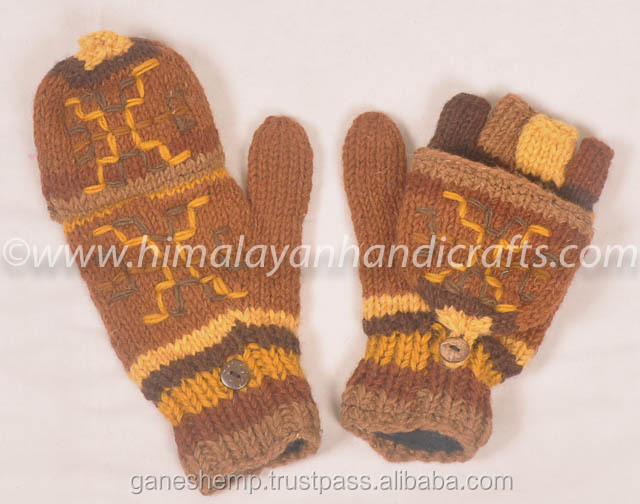 Stylish Hand Knitted Woolen Knitted Hunter Gloves HHWG 501 C