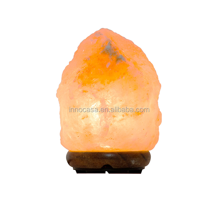 Handcrafted Himalayan Salt Lamp with Wooden Base and Natural Pink Crystal Rock for Air Purifying