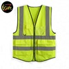 9 Pockets Class 2 High Visibility Zipper Front Safety Vest With Reflective Strips Yellow Meets ANSI/ISEA Standards