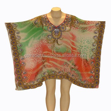 wow design kaftan,digital print beaded neck poncho for ladies,unique summer collection abaya