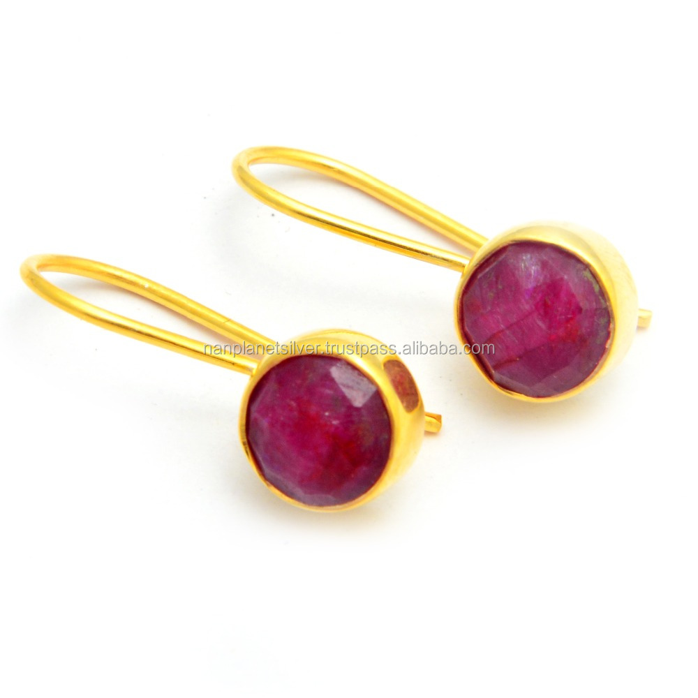 Gold Plated Dyed Ruby Round Bezel Set Dangle Earring