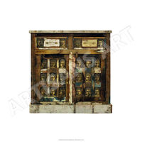 Vintage Reclaimed Buddha Metal Stamp 2 drawer 2 door Cabinet, Indian Handmade Reclaimed furniture