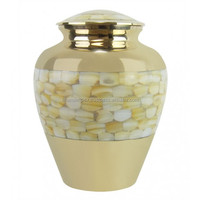 Brass Cremation Urn with Mother of Pearl