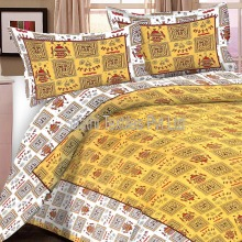 Yellow Flower Printed Pure Cotton Bed Sheets with Pillow Covers Bulk sale
