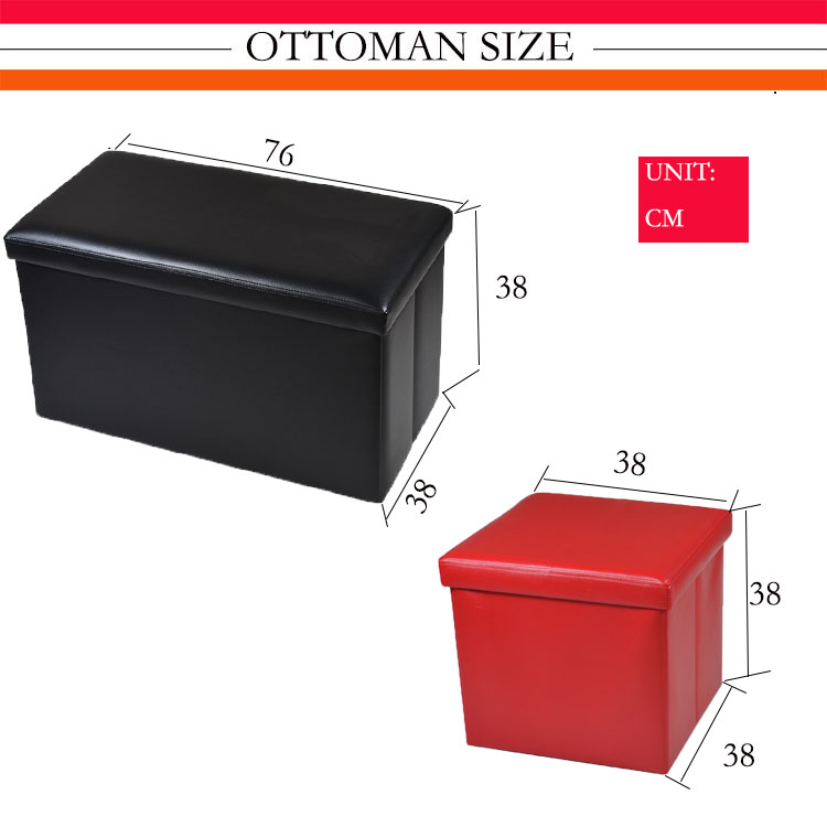 foldable leather furniture ottoman with storage