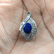 New Fashion 2018 Top Blue Sapphire White Cz Gemstone 925 Sterling Silver Fine Pendant