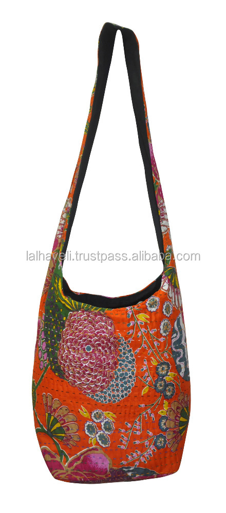 Latest Fashion Kantha Stitched Handmade Cotton Cloth Hobo Handbag Shoulder Tote Bags for Women & Girl