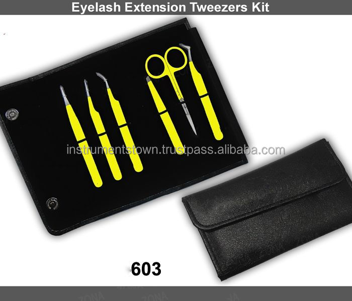 Eyelash extension tweezers set in cheap prices with free custom logo/6 pieces Eyelash extension tweezers with case