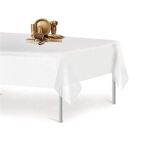 White Party Biodegradable Plastic Tablecloths Disposable Table Cloths