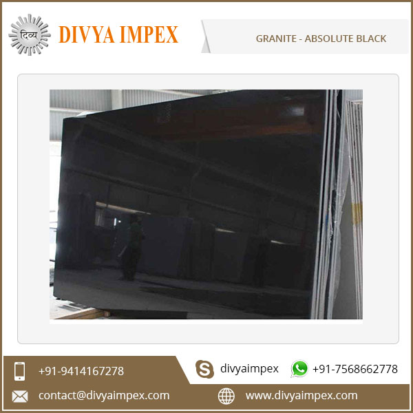 Polished 100x100 Absolute Black Granite Slab Price India