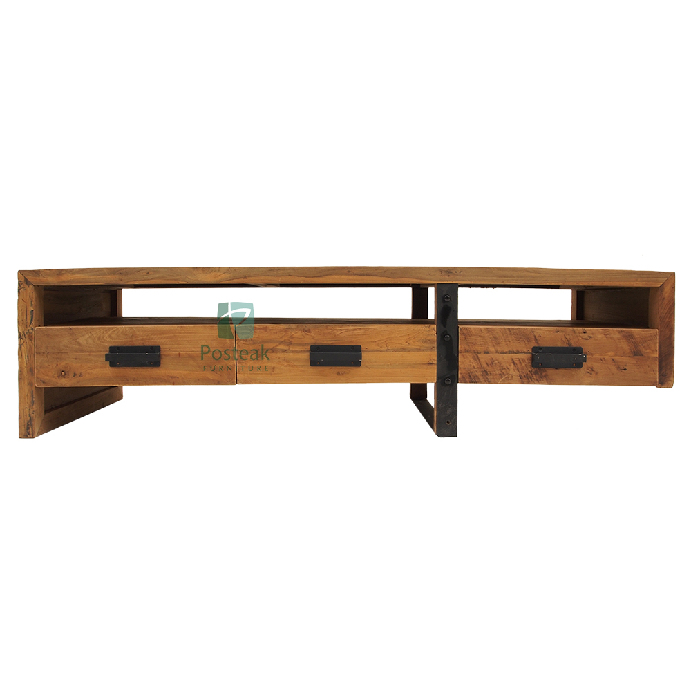 Coffee table 3 drawers recycled teak wood combination iron industrial furniture