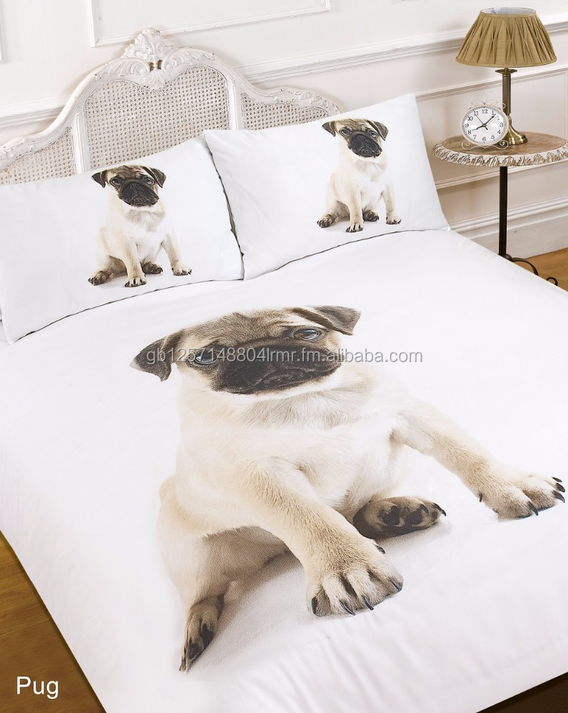 Pug Dog Quilt Duvet Cover with Pillow Case Bedding Set