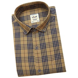 Men Khaki & Blue Slim Fit Checked Casual Shirt