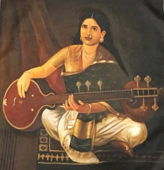 Beautiful Piece of Hand Painted Lady Playing Veena on Canvas Oil Painting