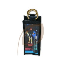 Wooden cane handle jute wine bottle cover bag