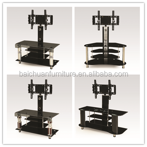 Mordern Tempered Black Glass Top Black Wooden Drawer/MDF Base/ Adjustable TV Stand