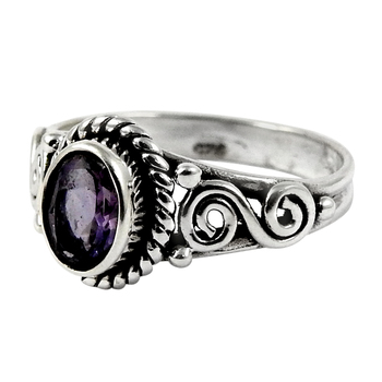 Purple amethyst ring handmade silver jewelry 925 sterling silver rings suppliers