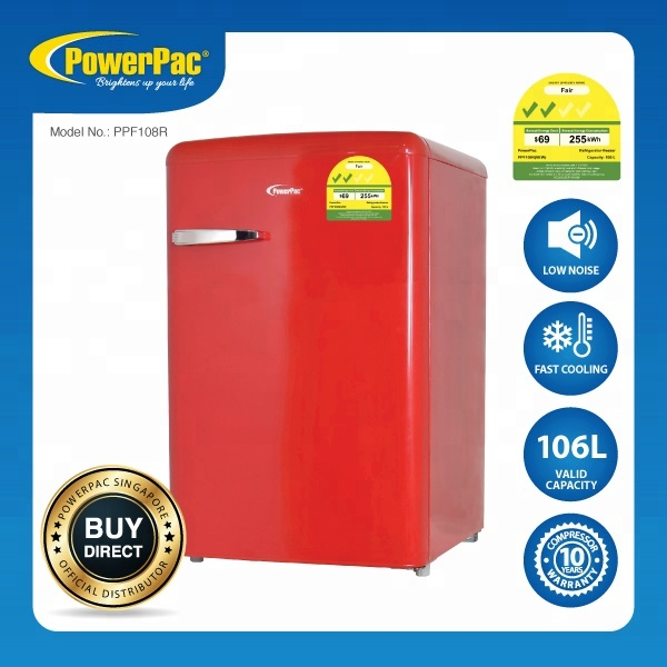 PowerPac 1 Door Retro Fridge, (PPF108R) Stocks <strong>Appliances</strong> (Available Stocks)