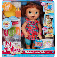 NEW Baby Alive Super Snacks My Super Snackin' Baby Sara Brunette