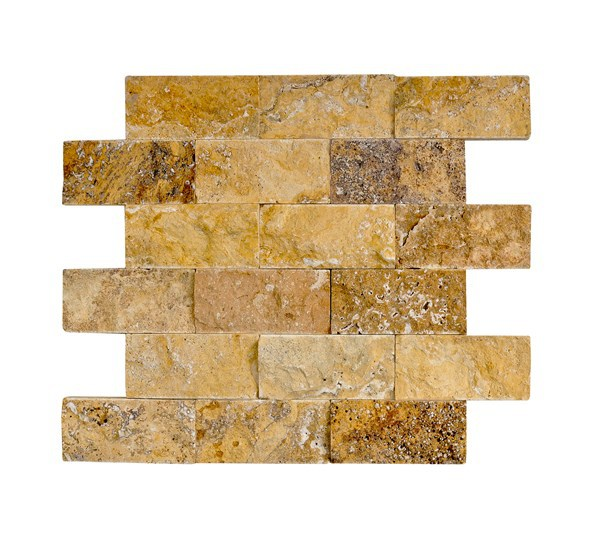 5x10 cm travertine and marble split face mosaic
