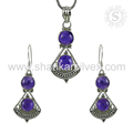 Good looking amethyst gemstone jewelry set for girls 925 sterling silver handmade jewellery exporters