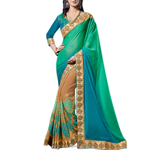 Moti,Stone and Floral Work Multi Color Georgette Saree