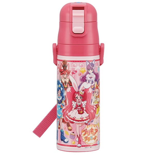 Cute insulated stainless steel thermos 16 oz bottle in Japanese Anime 'Kira Kira Precure a la mode.'