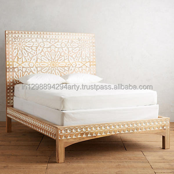 Antique Vintage Rustic Indian Carving High Headboard Bed