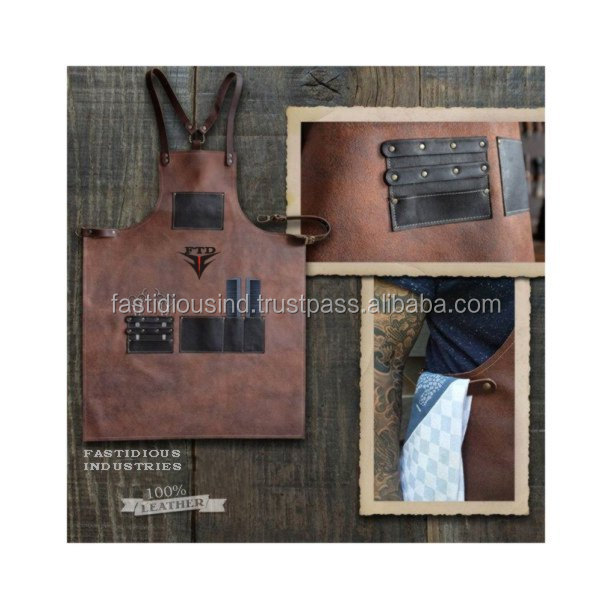 Washenwear/ Cotton and Leather Barber Apron 100% Leather Cowhide Aprons for Men/ Women