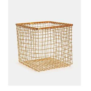 SQUARE BIG GOLD PLATED METAL WIRE BASKET