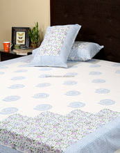 White And Light Blue Floral Hand Block Printed Wrinkle Free Cotton Double Bed Sheet