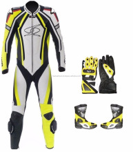 Men Handmade Yellow Motorcycle SUIT Leather Jacket Pants Boots Gloves