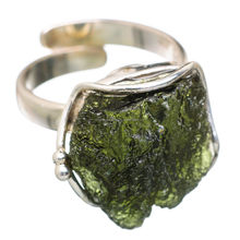 925 Sterling Silver Czech Moldavite Ring