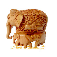 souvenir Indian hand carved wooden elephant