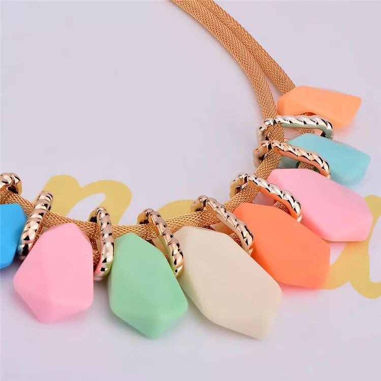 Fashion Clavicle Choker Necklace set 2017 Colorful Irregular Resin Imitation pendant necklace earrings Jewelry Sets