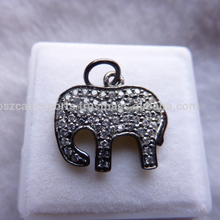 Elephant Finding Pendant Full Pave Diamond silver 925 Pave Setting