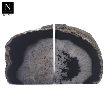 Natural mineral formation large geode open crystals rocks black agate bookends