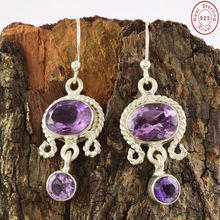 Trendy Purple Amethyst Jewelry Earring New Design Wholesale Silver Jewelry Manufacturing Indian Silver Jewelry
