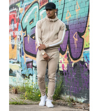 Wholesale custom logo two tone men gym wear fleece sweatsuit, street wear gym Hoodie / jogger fashion set