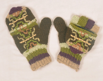 Stylish Green Hand Knitted Woolen Knitted Hunter Gloves HHWG 501 D