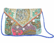 Indian embroidery mirror work hand bag sling purse women handbags ladies evening bags