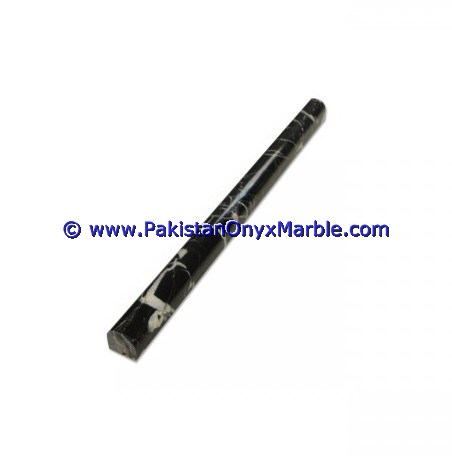 NATURAL COLOR MARBLE/ JET BLACK MARBLE PENCIL MOLDING