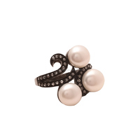 Three Pearl With Pretty Rose Cut Oxidized jewelry Victorian Collcetion Mothers Ring