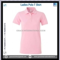 Pink Ladies Custom print Short Sleeve Polo T shirts with Buttons